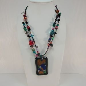 Glass Beaded Necklace with Art Glass Pendant 16 in